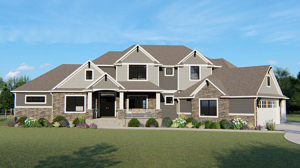 Country, Craftsman, Traditional House Plan 50662 with 6 Beds, 5 Baths, 3 Car Garage Elevation
