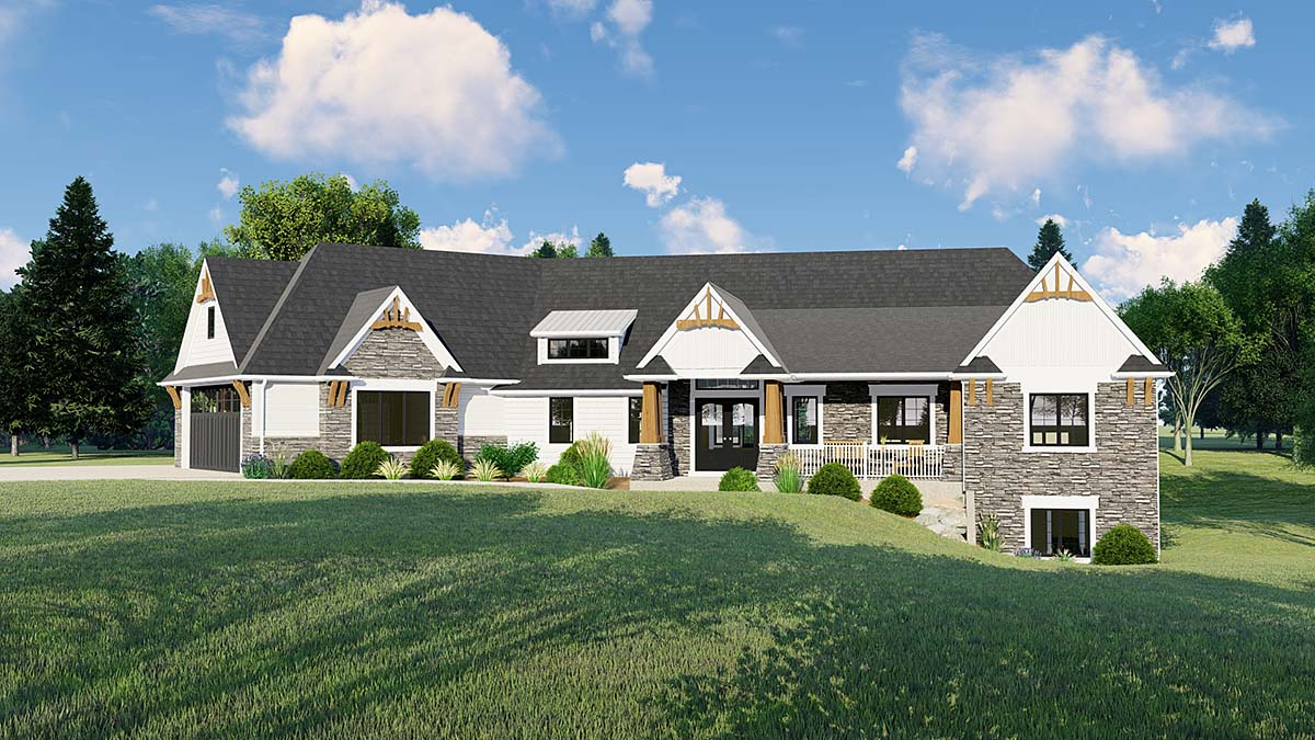 Cottage, Craftsman, Traditional House Plan 50663 with 4 Beds, 4 Baths, 3 Car Garage Elevation