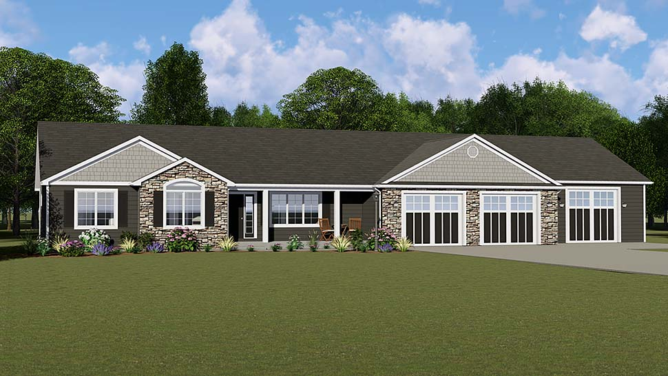 Country Ranch Traditional Elevation of Plan 50664