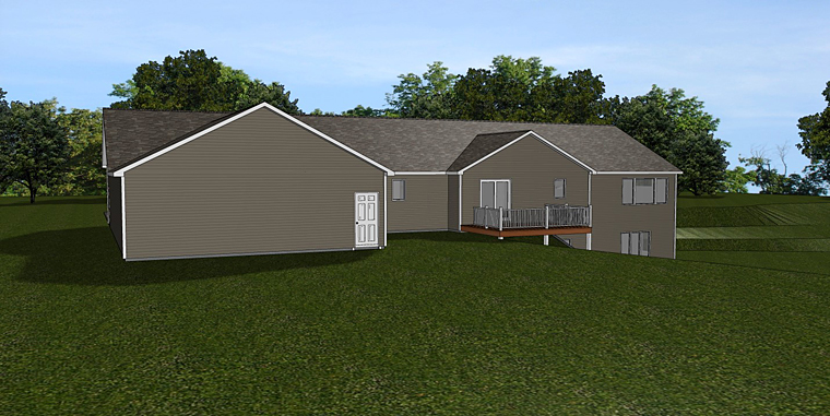 Country Ranch Traditional Rear Elevation of Plan 50664