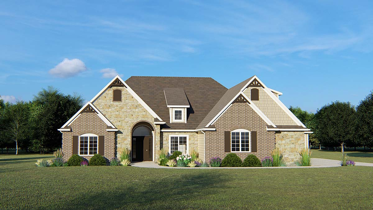 European House Plan 50666 with 4 Beds, 3 Baths, 2 Car Garage Elevation