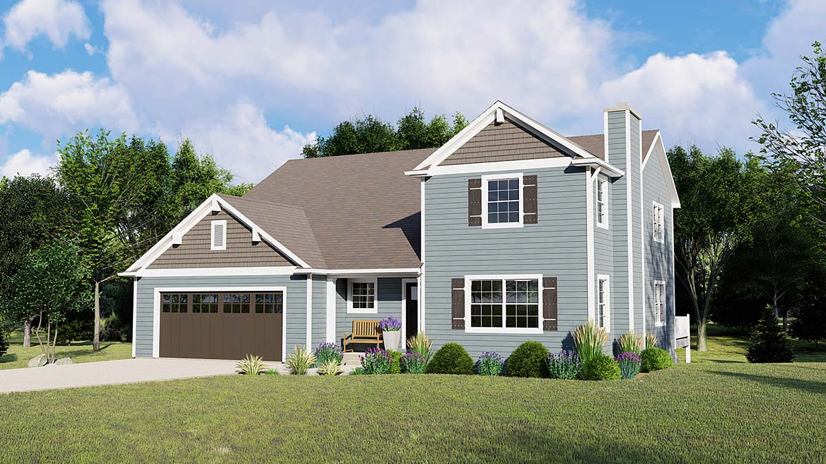 Traditional House Plan 50669 with 4 Beds, 2 Baths, 2 Car Garage Elevation
