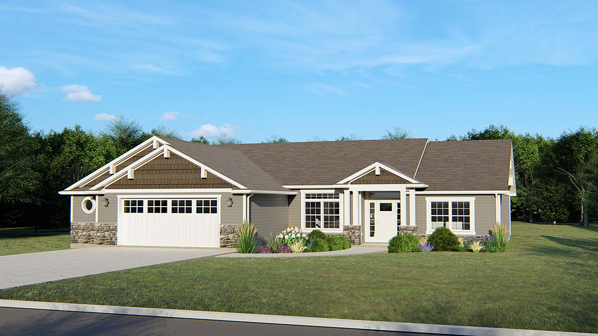 Craftsman, Ranch, Traditional House Plan 50670 with 3 Beds, 2 Baths, 2 Car Garage Elevation