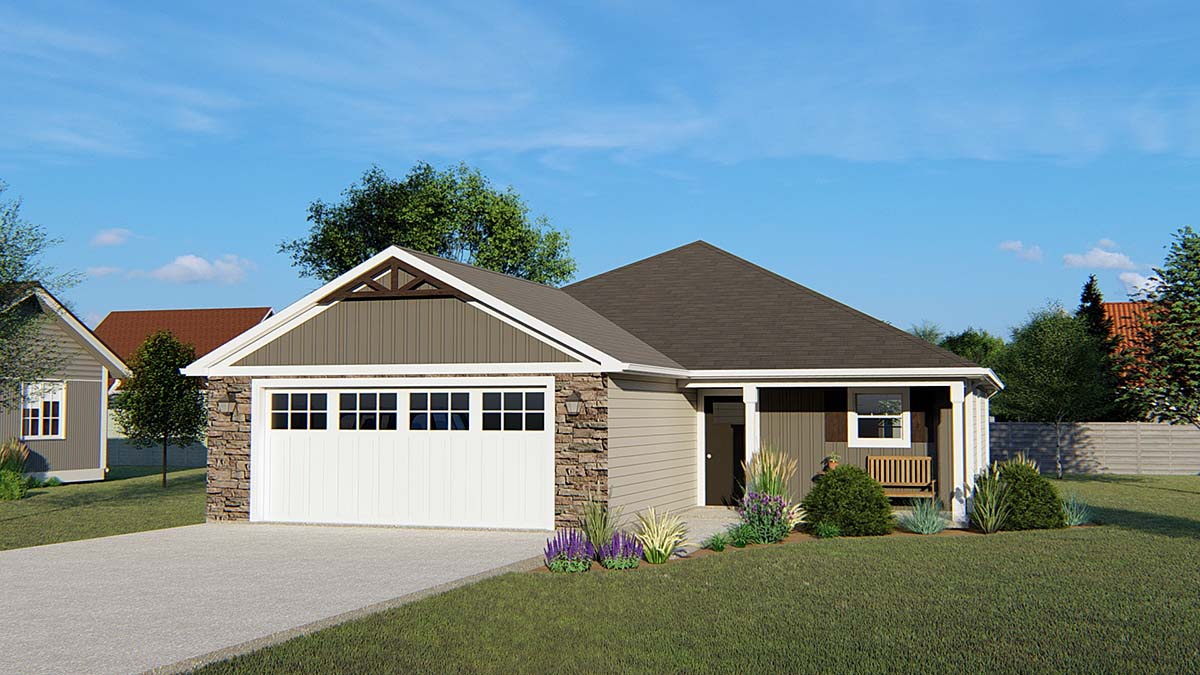 Traditional House Plan 50672 with 3 Beds, 2 Baths, 2 Car Garage Elevation