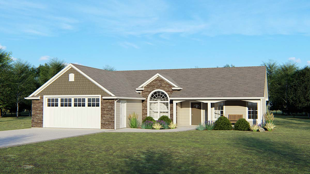 Craftsman , Ranch House Plan 50674 with 3 Beds, 2 Baths, 2 Car Garage Elevation