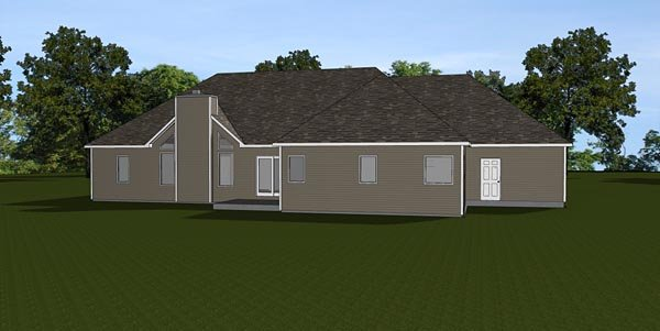 Craftsman Ranch Traditional House Plan 50676 Rear Elevation