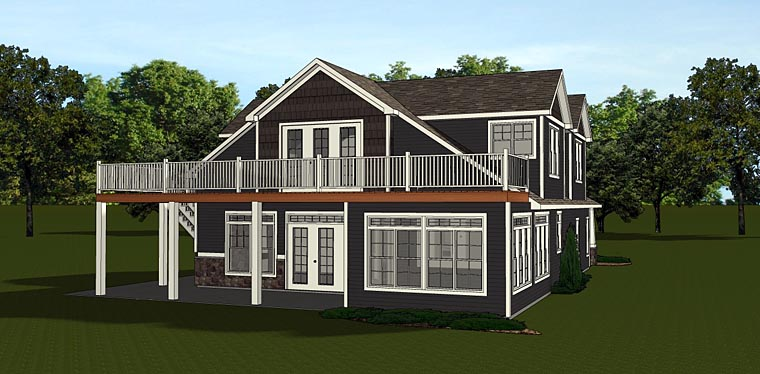 Bungalow Cottage Country Craftsman House Plan 50677 Rear Elevation
