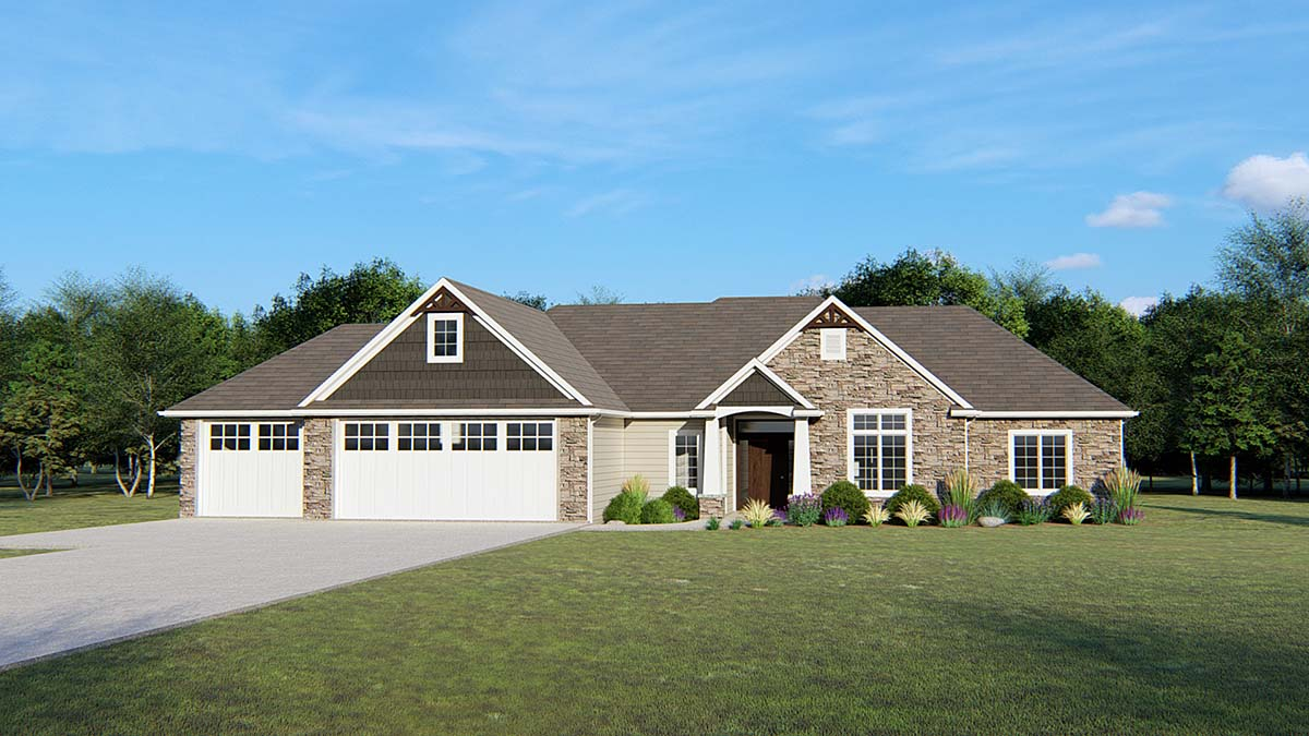 Ranch, Traditional House Plan 50681 with 3 Beds , 3 Baths , 3 Car Garage Elevation