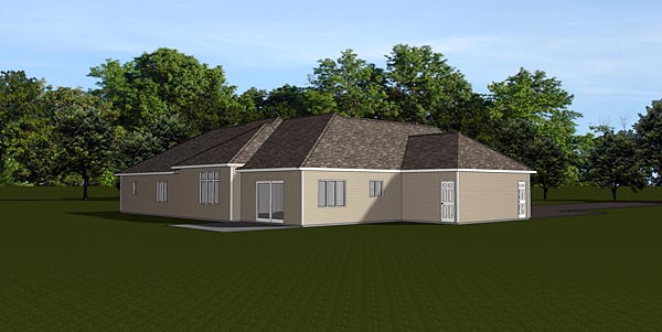Ranch, Traditional House Plan 50681 with 3 Beds , 3 Baths , 3 Car Garage Rear Elevation