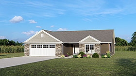 House Plan 50682 | Ranch Traditional Style Plan with 1636 Sq Ft, 3 Bedrooms, 2 Bathrooms, 2 Car Garage Elevation