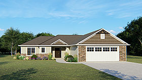 Ranch , Traditional House Plan 50686 with 3 Beds, 2 Baths, 2 Car Garage Elevation
