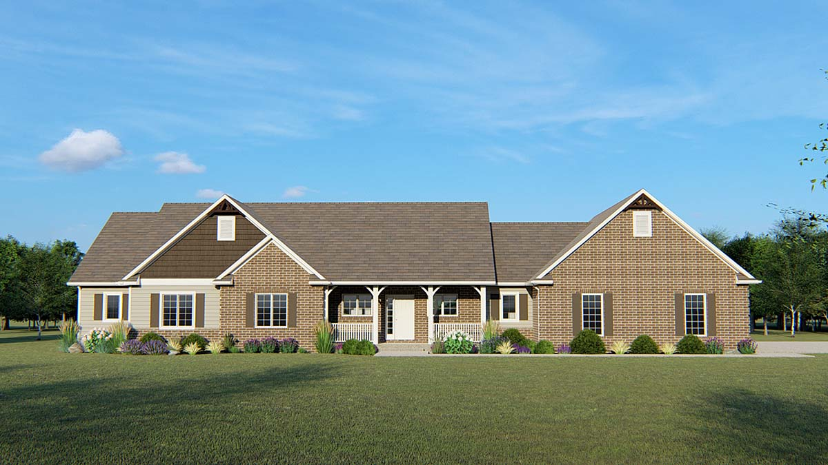 Country, Craftsman, Ranch, Traditional House Plan 50690 with 3 Beds, 3 Baths, 3 Car Garage Elevation