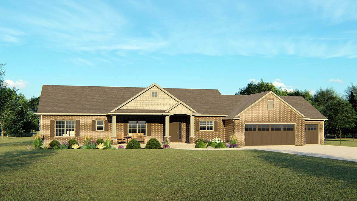 Ranch, Traditional House Plan 50691 with 3 Beds, 3 Baths, 3 Car Garage Front Elevation