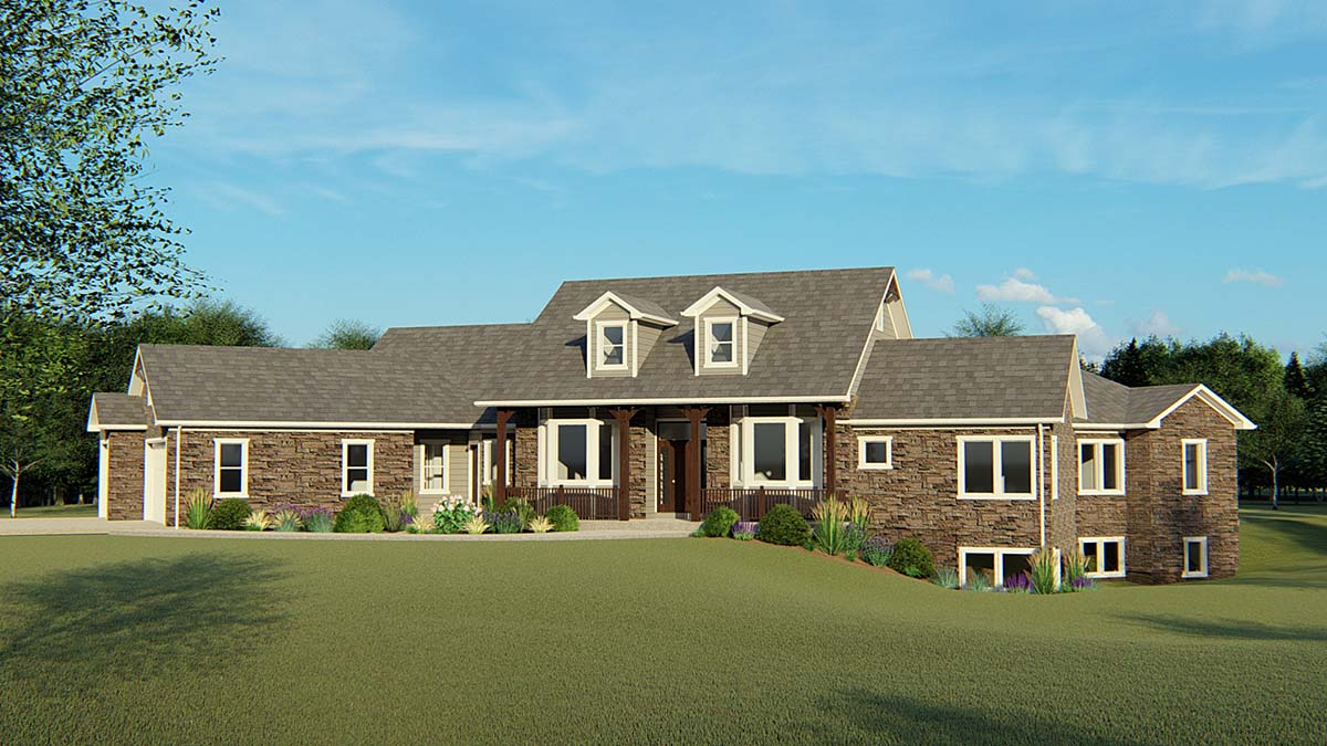 House Plan 50695 | Country Ranch Southern Style Plan with 5542 Sq Ft, 3 Bedrooms, 4 Bathrooms, 3 Car Garage Elevation