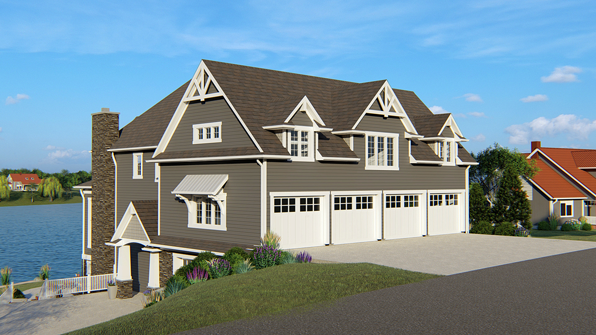 Coastal , Traditional House Plan 50700 with 4 Beds, 5 Baths, 4 Car Garage Rear Elevation