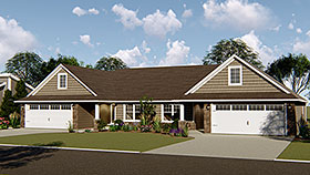 House Plan 50701 | Craftsman Traditional Style Plan with 1615 Sq Ft, 3 Bedrooms, 2 Bathrooms, 2 Car Garage Elevation