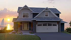 House Plan 50703 | Cottage Country Craftsman Style Plan with 3107 Sq Ft, 6 Bedrooms, 5 Bathrooms, 2 Car Garage Elevation