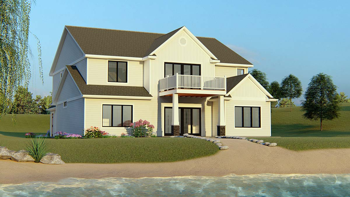 Bungalow Craftsman Traditional Rear Elevation of Plan 50706