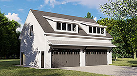 Colonial , Contemporary 3 Car Garage Apartment Plan 50707 with 1 Beds, 1 Baths Elevation