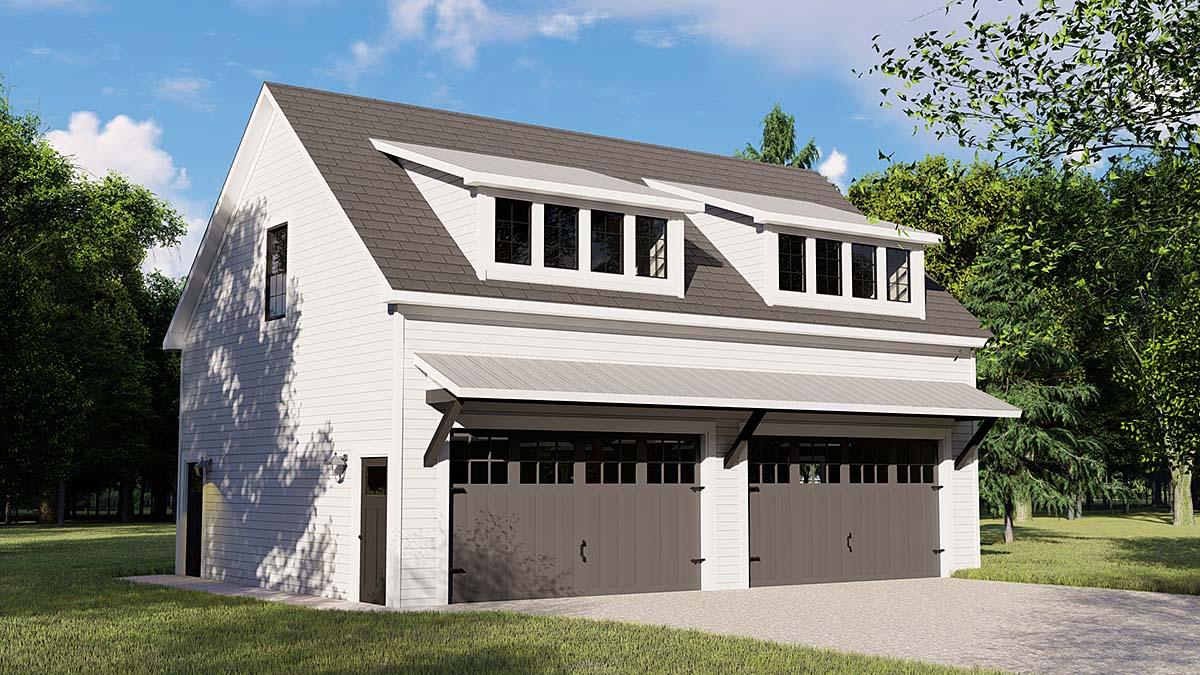 Colonial Contemporary Garage Plan 50707 Elevation