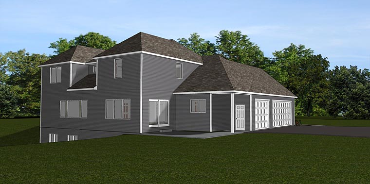 Traditional , Southern , Country , Cottage House Plan 50712 with 5 Beds, 3 Baths, 3 Car Garage Rear Elevation