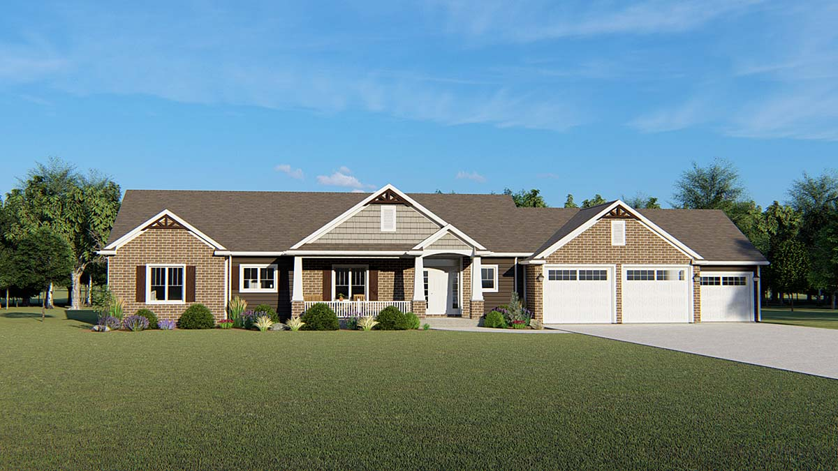 Cottage, Craftsman, Ranch House Plan 50716 with 3 Beds, 3 Baths, 3 Car Garage Front Elevation