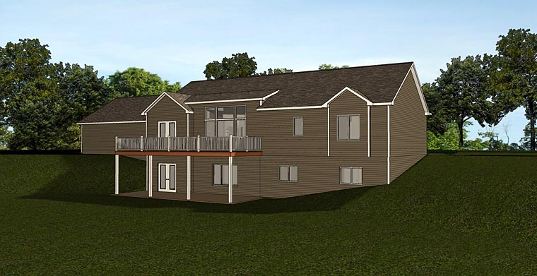 Cottage, Craftsman, Ranch House Plan 50716 with 3 Beds, 3 Baths, 3 Car Garage Rear Elevation