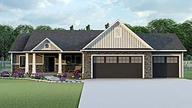 House Plan 50719 | Colonial Craftsman Ranch Style Plan with 1827 Sq Ft, 3 Bedrooms, 2 Bathrooms, 3 Car Garage Elevation