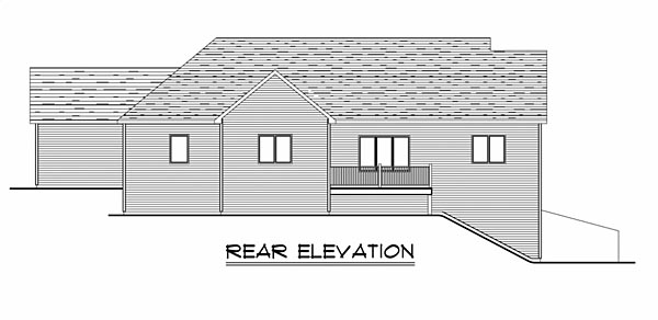 Colonial Craftsman Ranch House Plan 50719 Rear Elevation