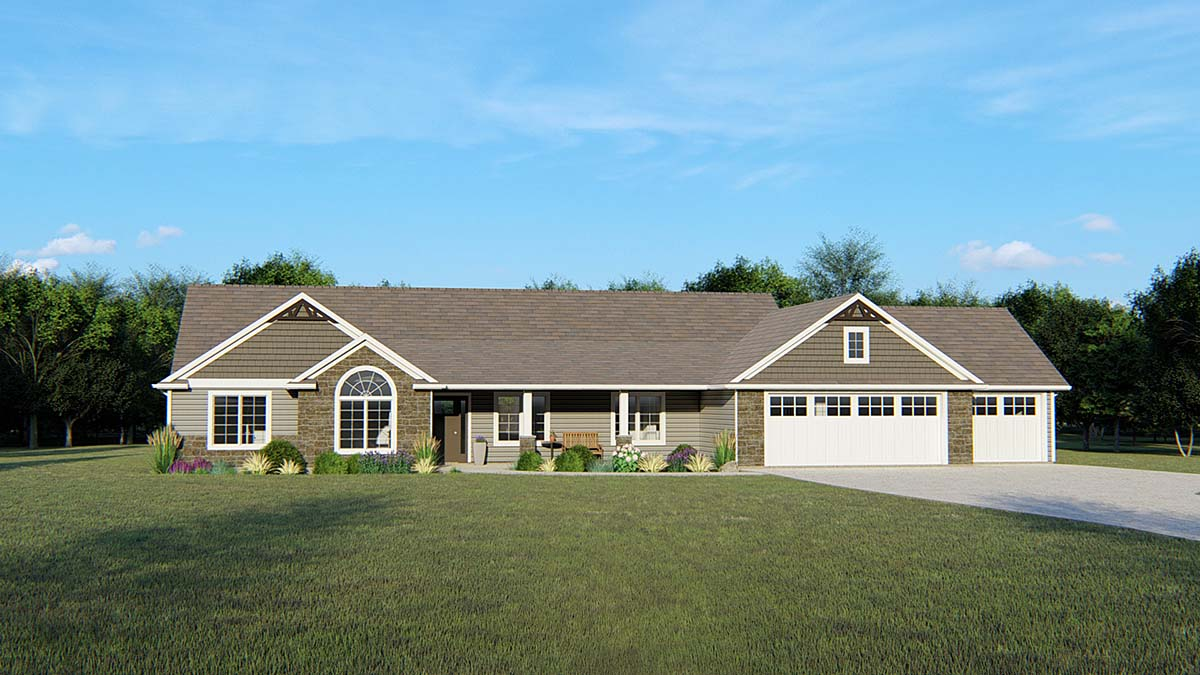 Ranch House Plan 50720 with 3 Beds, 3 Baths, 3 Car Garage Front Elevation
