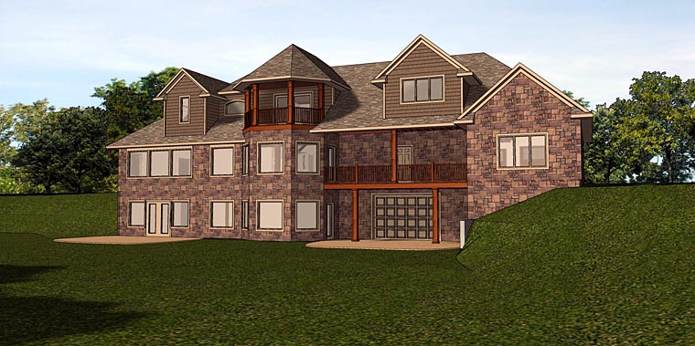Traditional House Plan 50727 with 3 Beds, 4 Baths, 3 Car Garage Rear Elevation