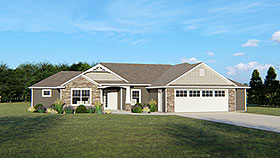 House Plan 50730 | Country Ranch Style Plan with 1750 Sq Ft, 3 Bedrooms, 2 Bathrooms, 2 Car Garage Elevation