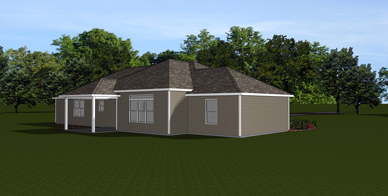 House Plan 50730 | Country Ranch Style Plan with 1750 Sq Ft, 3 Bedrooms, 2 Bathrooms, 2 Car Garage Rear Elevation