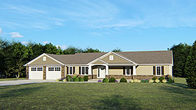 Ranch , Craftsman , Cottage House Plan 50732 with 3 Beds, 3 Baths, 2 Car Garage Elevation