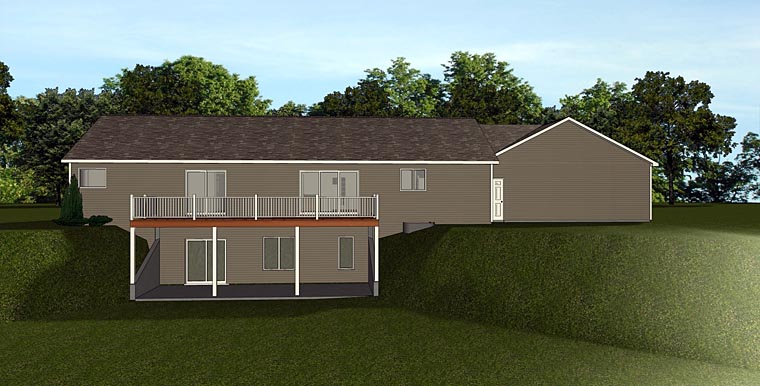 Cottage Craftsman Ranch Rear Elevation of Plan 50732