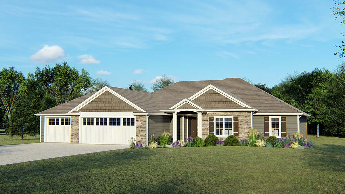 Craftsman, Ranch House Plan 50733 with 4 Beds, 2 Baths, 3 Car Garage Elevation