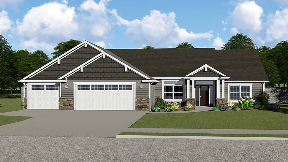 Craftsman Ranch Traditional House Plan 50734 Elevation