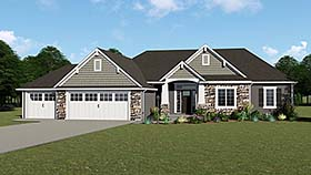 Country , Craftsman , Ranch House Plan 50735 with 4 Beds, 3 Baths, 3 Car Garage Elevation