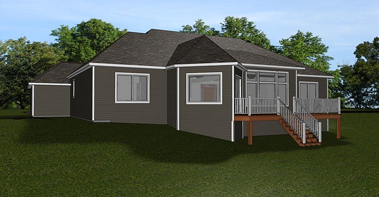Bungalow Cottage Craftsman Rear Elevation of Plan 50736