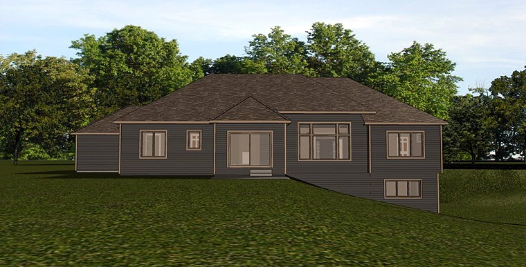 Craftsman Ranch Rear Elevation of Plan 50737