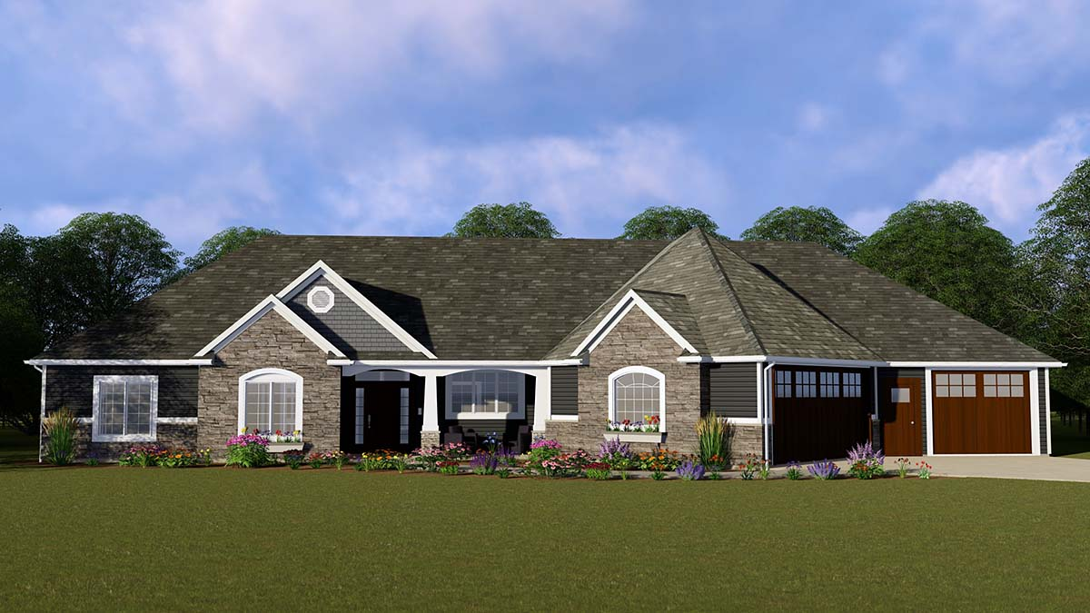 Ranch, Traditional House Plan 50740 with 3 Beds , 4 Baths , 3 Car Garage Elevation
