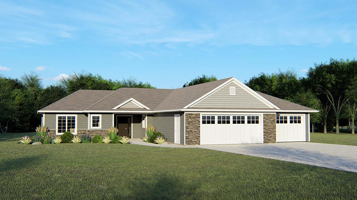 House Plan 50745 | Ranch Traditional Style Plan with 1869 Sq Ft, 3 Bedrooms, 2 Bathrooms, 3 Car Garage Elevation