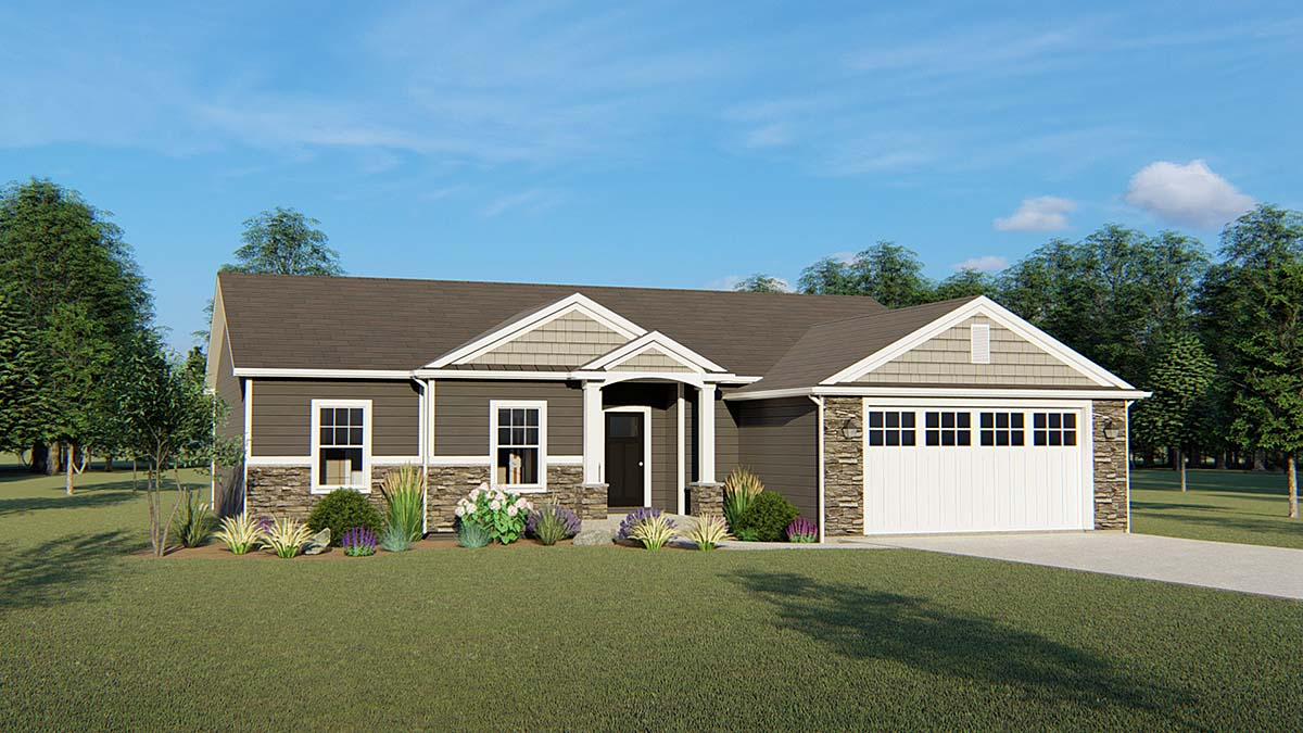 Ranch, Traditional House Plan 50746 with 4 Beds, 3 Baths, 2 Car Garage Elevation