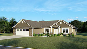 Craftsman Ranch Traditional House Plan 50750 Elevation