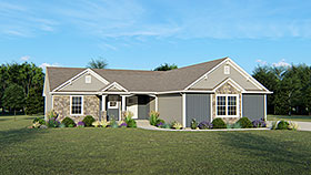 Traditional House Plan 50752 with 4 Beds, 4 Baths, 2 Car Garage Elevation