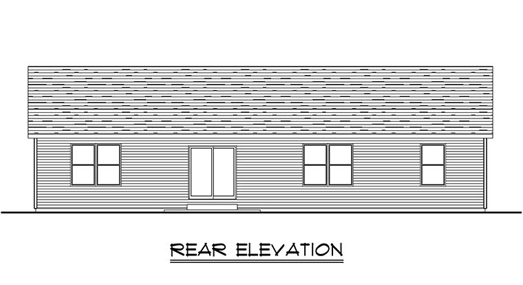 Traditional House Plan 50752 with 4 Beds, 4 Baths, 2 Car Garage Rear Elevation