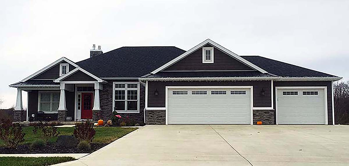 Bungalow, Traditional House Plan 50754 with 4 Beds, 3 Baths, 3 Car Garage Elevation