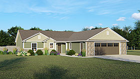 House Plan 50760 | Ranch Traditional Style Plan with 1742 Sq Ft, 3 Bedrooms, 3 Bathrooms, 2 Car Garage Elevation