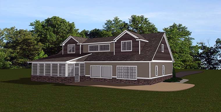 Country House Plan 50761 with 4 Beds, 5 Baths, 3 Car Garage Rear Elevation