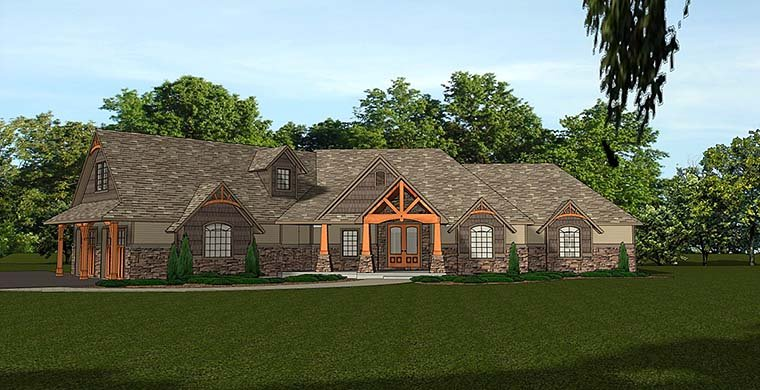 Bungalow , Cottage , Country , Craftsman , Elevation of Plan 50764